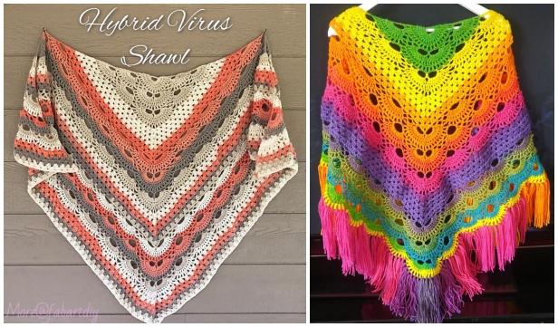 Crochet Virus Meets Granny Shawl Free Crochet Pattern - Video