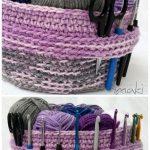 Crochet Yarn Basket Hook Organizer Free Crochet Pattern