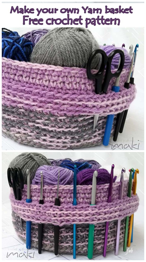 Crochet Yarn Basket Hook Organizer Free Crochet Pattern