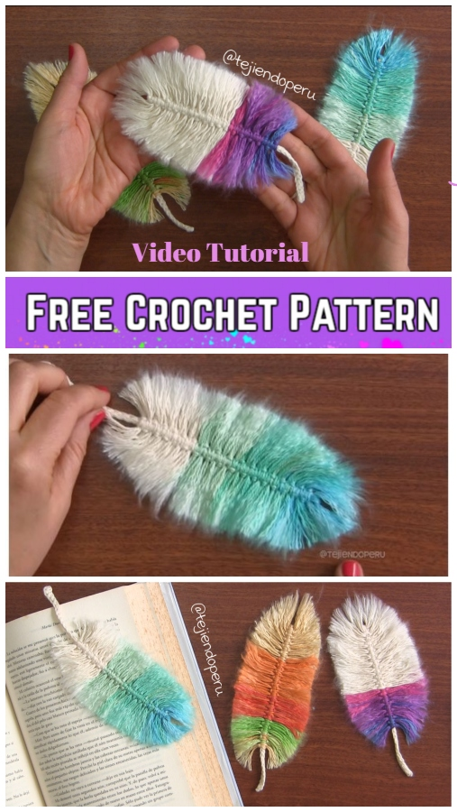 DIY Macrame Feather With Crochet Cord Free Pattern - Video Tutorial