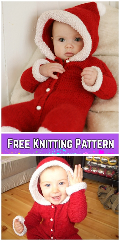 Knit Baby Santa Sweater Cardigan Free Knitting Patterns - My First Christmas by DROPS design