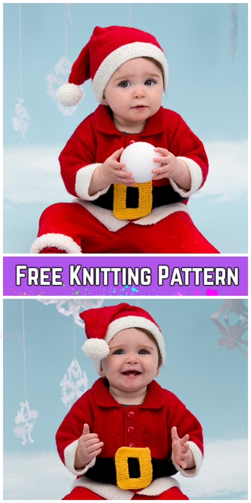 Knit Baby Santa Sweater Cardigan Free Knitting Patterns - Santa Baby Suit by Lorna Miser