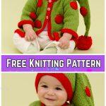 Knit Baby Santa Sweater Cardigan Free Knitting Patterns -Santa's Baby Elf Sweater byCindy Craig