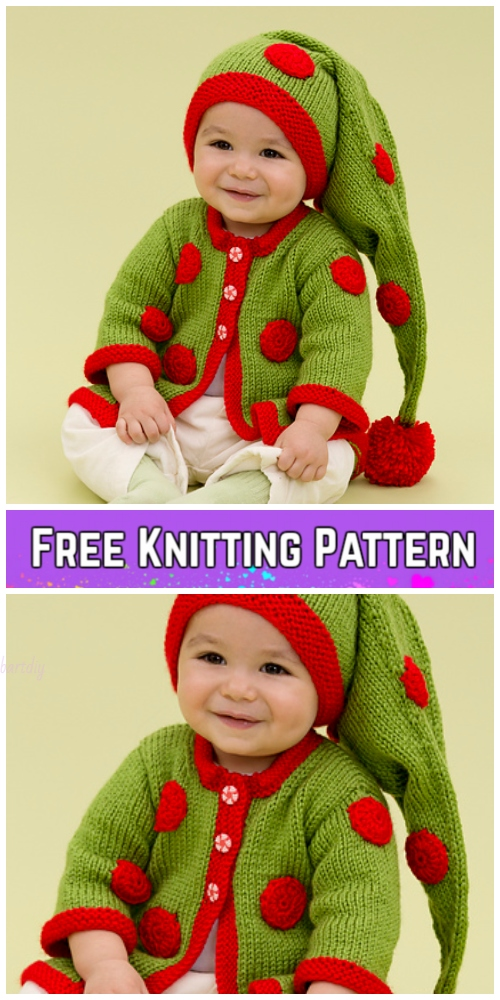 Knit Baby Santa Sweater Cardigan Free Knitting Patterns  -Santa's Baby Elf Sweater by Cindy Craig