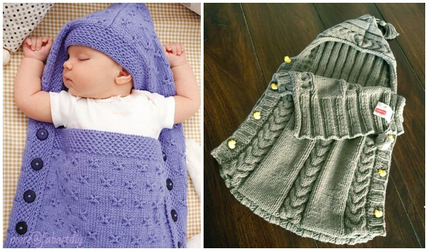 Knit Baby Hooded Sleeping Sack Blanket Free Knitting