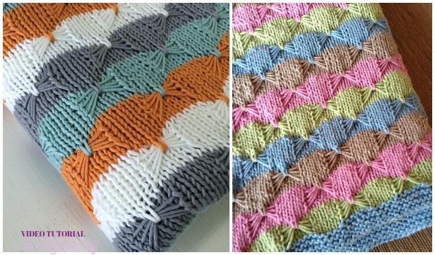 Knit Butterfly Stitch Blanket Free Knitting Pattern -Video Tutorial