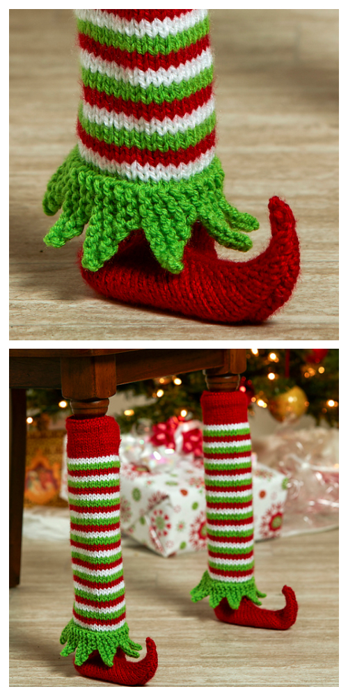 Knit Elf Shoe Table Leg Cover Free Knitting Patterns