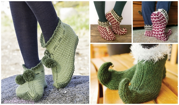 Knit Elf Slippers Free Knitting Patterns Amp Paid