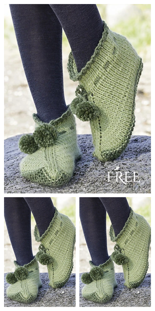 Knit Forest Elf Slippers Free Knitting Pattern