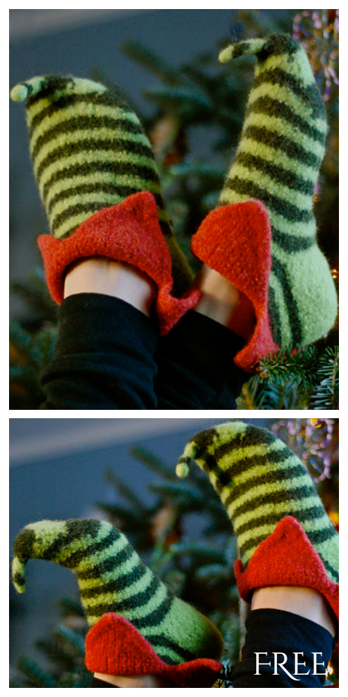 Knit Felt Elf Slipper shoes Free Knitting Pattern