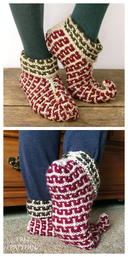 Knit  Elf Slippers Free Knitting Pattern