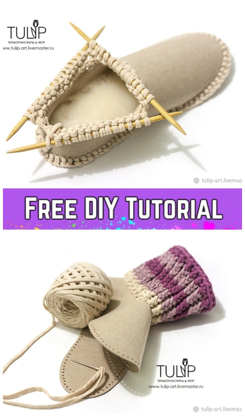 Knit Felt Home Boots Free Knitting Pattern - Simple DIY Tutorial