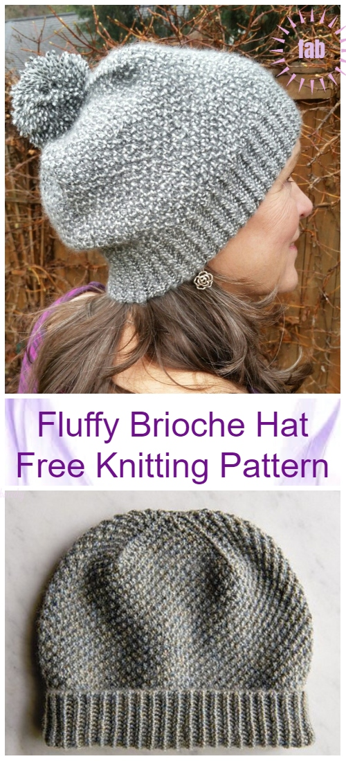 Knit Fluffy Brioche Hat Free Knitting Pattern