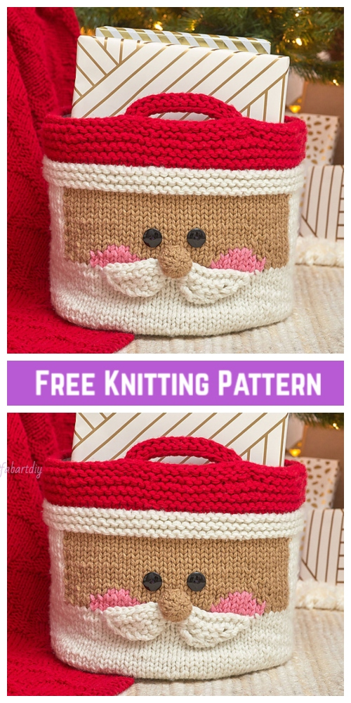 Knit Jolly Santa Basket Free Knitting Pattern