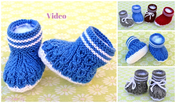 Knit Mock Cables Baby Booties Knitting Pattern - Video