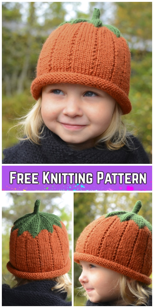 Knit Pumpkin Hat Free Knitting Patterns