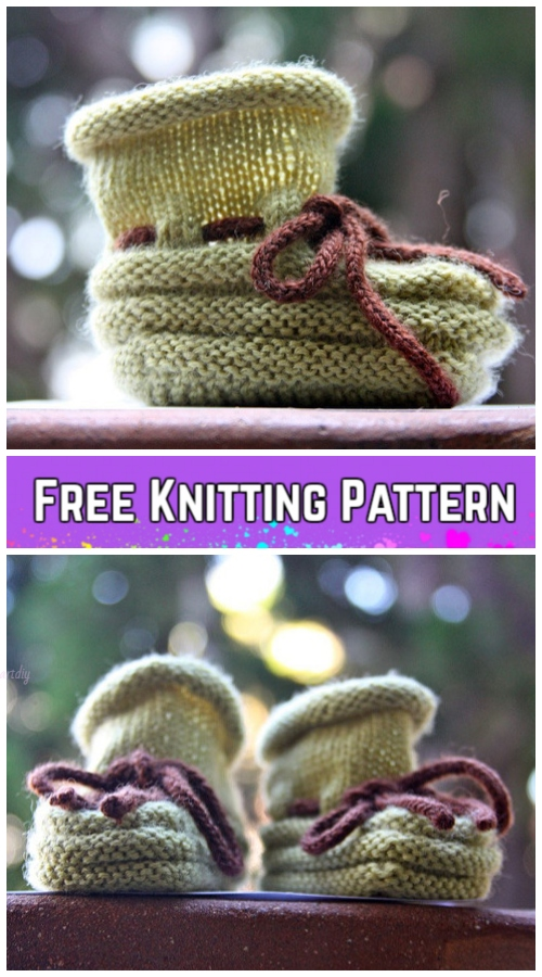Knit Stay-on Baby Booties Free Knitting Pattern