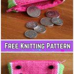 Knit Watermelon Coin Purse Free Knitting Pattern