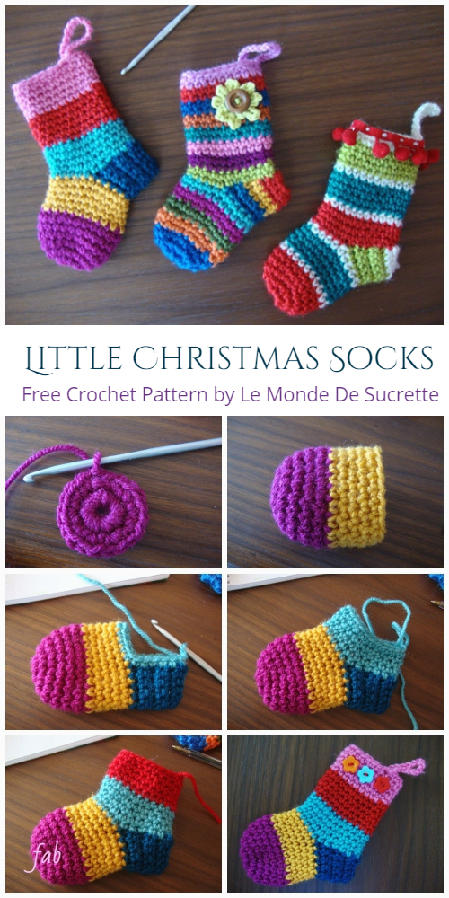 Little Rainbow Christmas Socks Free Crochet Patterns