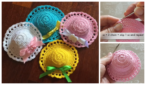 Crochet Mini Sun Hat Free Crochet Pattern - Video
