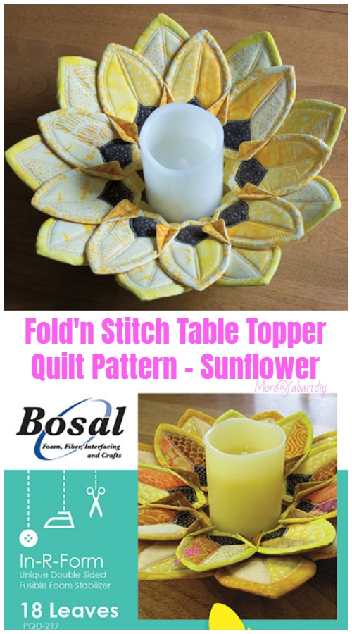 Sew Fold'n Stitch Sunflower Table Topper Quilt Pattern