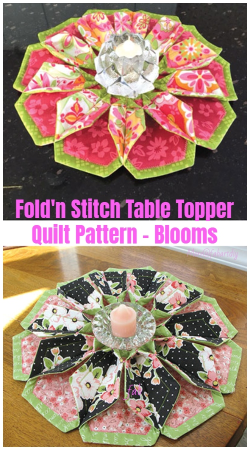 Sew Fold'n Stitch Blooms Table Topper Quilt Pattern