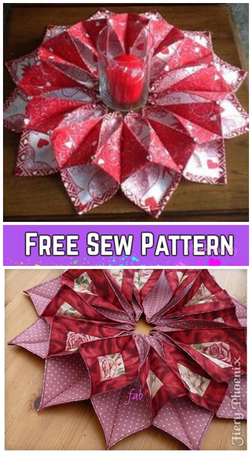 Sew Fold'n Stitch Table Topper Quilt Pattern and video tutorial -Origami Candle Mat