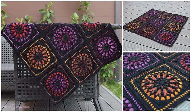 Stained Glass Lantern Square Blanket Crochet Pattern