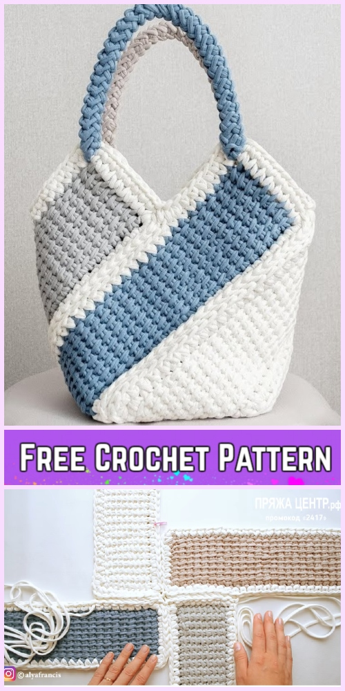 Tunisian Crochet Ten Stitch Handbag Free Crochet Pattern-Video