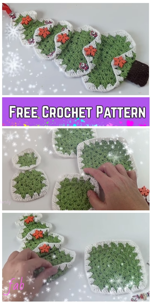 Vintage Granny Square Christmas Tree Free Crochet Pattern-Video