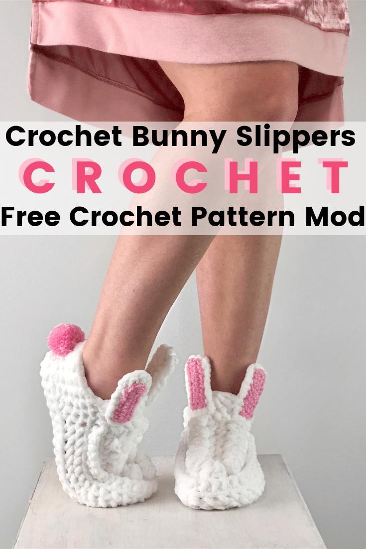 Women BOHO Bunny Slippers Free Crochet Patterns