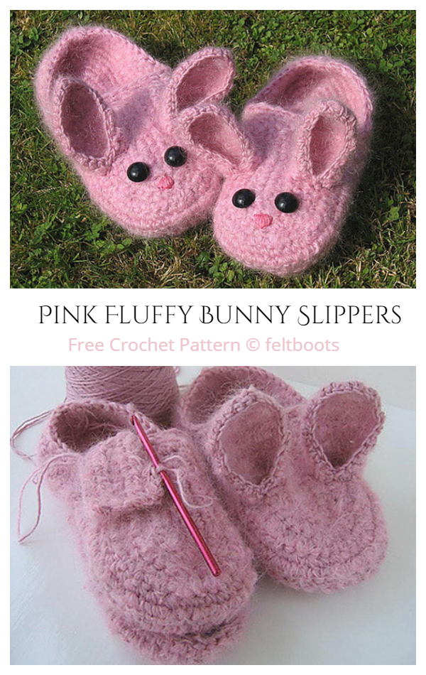 Adult Women Fluffy Bunny Slippers Free Crochet Pattern