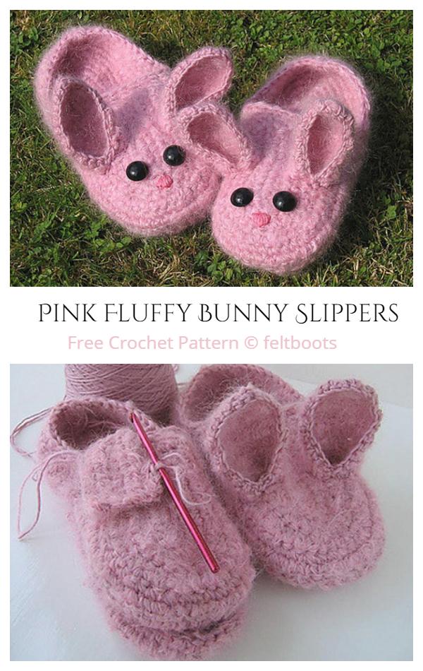 Adult Women Fluffy Bunny Slippers Free Crochet Pattern