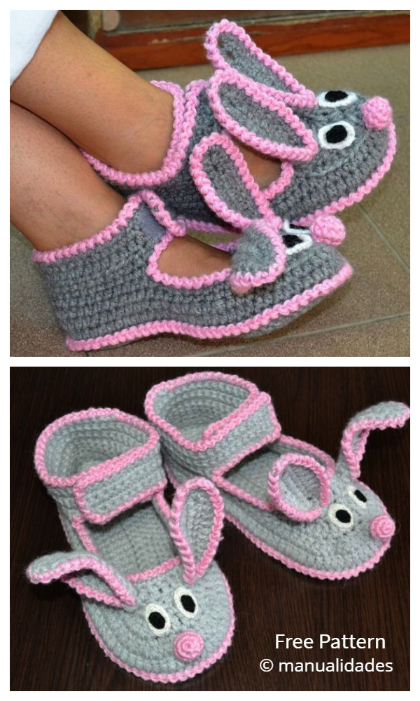 Women Bunny Slippers Free Crochet Pattern
