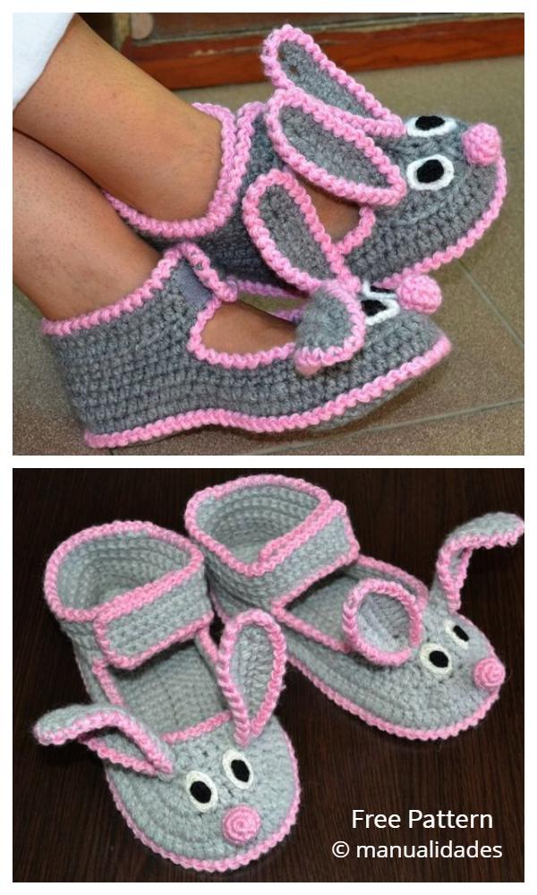 Women Bunny Slippers Free Crochet Pattern