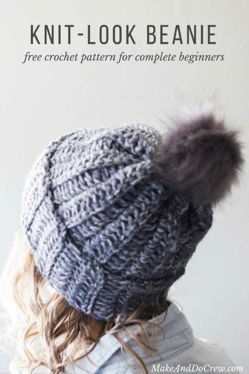 Beginner Easy 1-Hour Crochet Beanie Hat Free Crochet Pattern - All Sizes