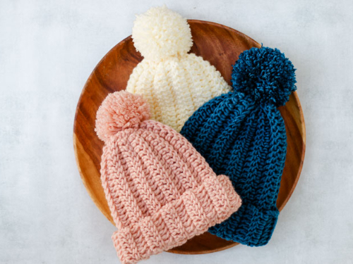 Beginner Easy 1-Hour Crochet Beanie Hat Free Crochet Pattern - All Sizes