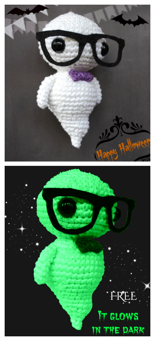 Halloween Amigurumi Hipster Ghost Free Crochet Patterns