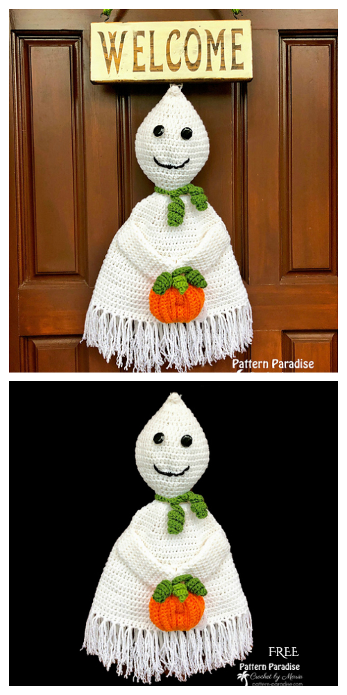 Ghost Wall Hanging Free Crochet Patterns