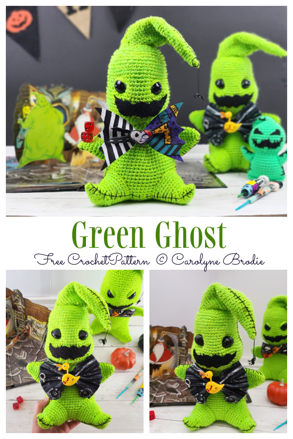 Halloween Amigurumi Green Ghost Free Crochet Pattern