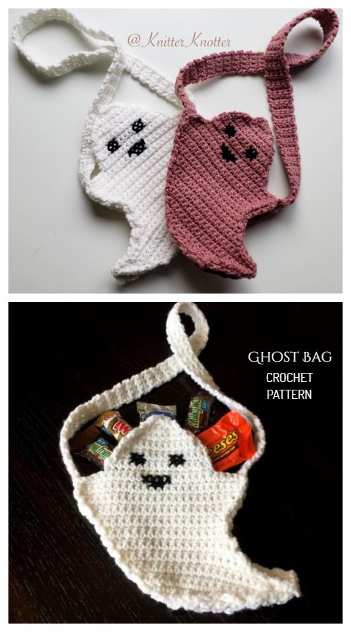 Halloween Ghost Treat Bag Crochet Pattern