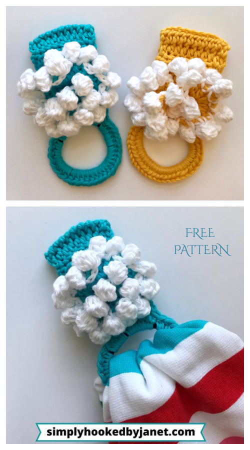 Fun Bobble Kitchen Towel Ring Free Crochet Patterns