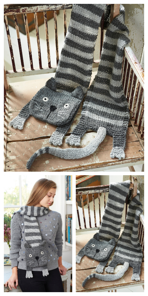 Knit Tabby Cat Scarf Free Knitting Pattern