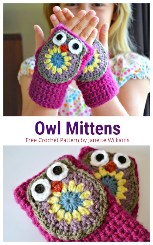 Crochet Kids Fingerless Owl Mittens Free Crochet Pattern