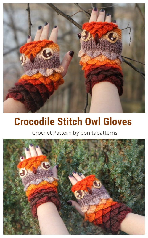 Crocodile Stitch Owl Gloves Crochet Patterns