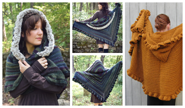 Ruffle Hooded Shawl Free Crochet Patterns