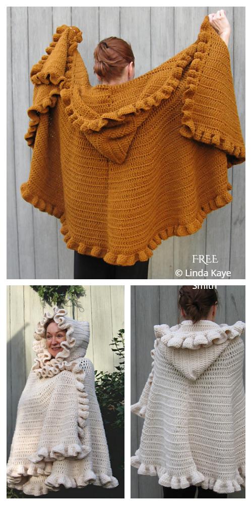 Ruffle Hooded Shawl Cape Free Crochet Patterns