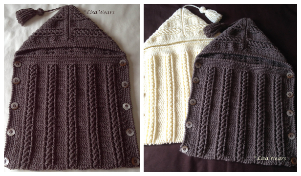 Cable Hooded Baby Sleep Sack Free Crochet Pattern