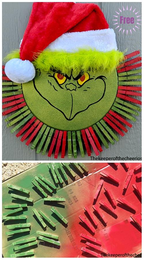 Clothpin Christmas Wreath DIY Tutorials -Grinch Clothespin Pizza Pan Wreath byThe Tomlinson's
