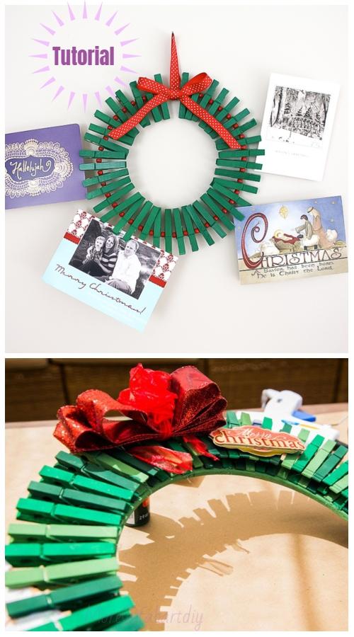 Clothpin Christmas Wreath DIY Tutorials -Christmas Card WreathTutuorials with Video